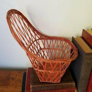 Wicker Chair Plant Holder Basket Vintage Farmhouse